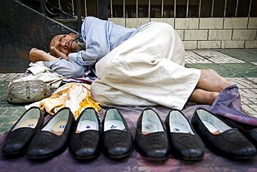 Shoe vendor, Kashgar, Xinjiang Province, China