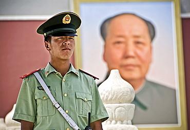 Chinese Policemen in Tiananmen Square, Beijing. China