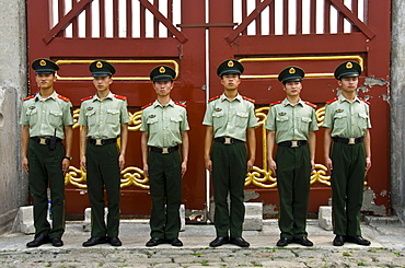 Group of Chinese Policemen in Formation. Temple of Heaven, Beijing. China