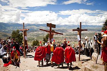 Actors perform a living stations of the cross on Friday during Holy Week in Ayacucho, Peru. - 857-49071