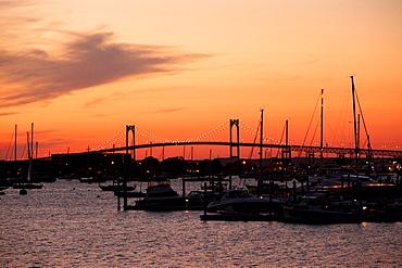 Sunset over Newport, Rhode Island.