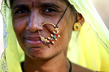 When a woman is married she will wear a large nose ring.  Rajahstan, India, 2008