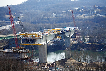 Eye-level view of the new I64 bridge under construction over the Kanawha River in downtown Charleston, WV.