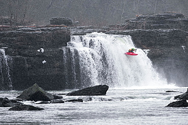 A professional kayaker boofs falls in Tennessee.