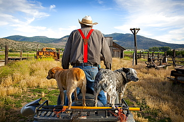 A rancher rides an ATV on his land in Southern Orregon.