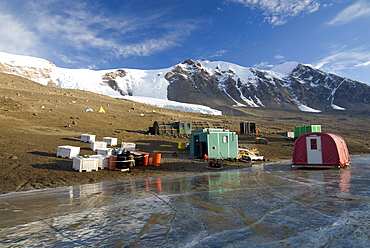A research canp sits on the shores of frozen Lake Bonney, in the Dry Valleys of Antarctica