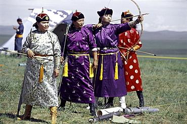 Women Archers at Naadam festival. Kharahorin, Cental Mongolia.