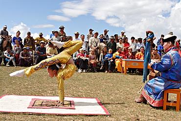 Mongol Musicians and Acrobat at Naadam Festival. Kharakhorin, Central Mongolia.
