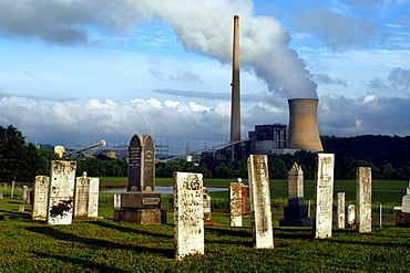 Muskingum River Power Plant in SE Ohio from an old cemetary from the east side of the river.