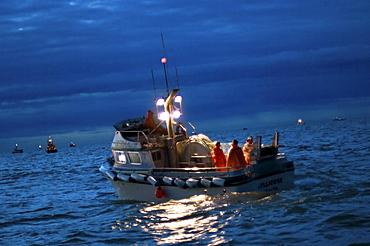 Gillnet fishing boat at twilight, Bristol Bay, Alaska