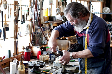 Making hiking boots the old fashioned way at Peter Limmer & Sons boot shop in Intervale, NH.