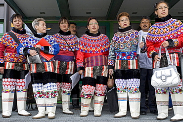 People in traditional costume on the National Day in Greenland, in Nuuk, Greenland.