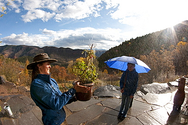 A woman smiles as she waters a tomato plant with rain water with an autumn view of the Colorado mountains. Her daughter stands under an umbrella with the sun shining behind her.