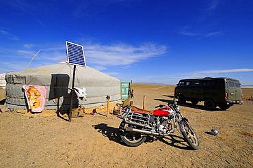 Modern nomadic camp in the Gobi Desert, Mongolia.