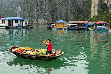 A fruit vendor paddles boxes of product in Halong Bay, Vietnam.