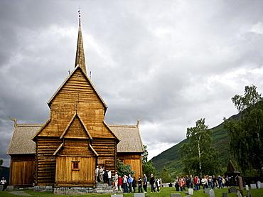 View of the exterior of Lom Stavkyrkje in Lom, Norway.