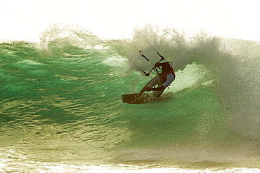 Perfect wave riding for kiteboarding in the side-off, clean wave conditions of Punta Preta (Black Point) on the island of Sal, Cape Verde.