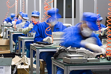 Seven workers are disassembling computers at TES-AMM Shanghai, which was founded on September 21, 2005, currently has 67 employees of which 26 are workers. With an annual production capacity of 10,000 tons, it has only treated 2,000 tons of e-waste from its founding more than a year ago. 'The biggest problem is that there isn't an e-waste recycling channel in China. The biggest chunks of raw materials we get are from government bodies, which are upgrading their equipments, and electronic appliances franchises that are washing out their outdated inventories. We don't have any imported e-waste because that's banned by the government. It takes a worker no more than ten minutes to disassemble a computer, and each worker can deal with between 60 to 70 computers a day,' says Janice Wu, who's the Environment & Quality Management Dept. Manager and Plant Manager Assistant.