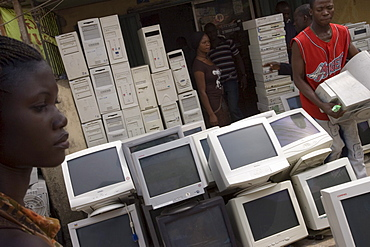 The Computer village at Ikeja neighborhood, Lagos Nigeria. Many of the computers here are second hand and shipped from USA or Europe for reuse.