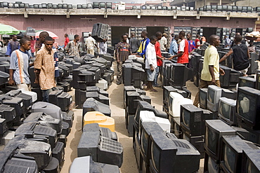 At the Alaba Market in Lagos Nigeria many of the computers here are second hand and shipped from Asia, the USA or Europe for reuse. The small shop dealers buy electronics from the containers and are very good at repairing the goods for sale. Only when material has no value is it sent to nearby dumps. Some kids look through this and try to salvage some coppers wires or aluminum pieces.
