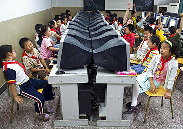 A class of second graders in a computer class at a school for elite children in Beijing, China.