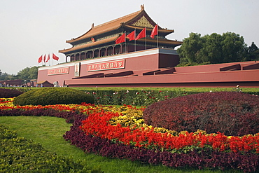 The Gate of Heavenly Peace which fronts Tiananmen Square and serves as the entrance to the Forbidden City in central Beijing, China.