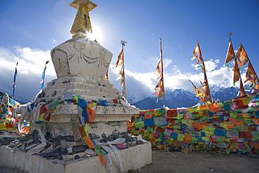 Stupas at Feilaisi, a small village and vista point near Deqin, Yunnan Province, China.