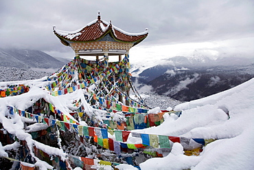 Fresh snow at the vista point east of Deqin, Yunnan Province, China.