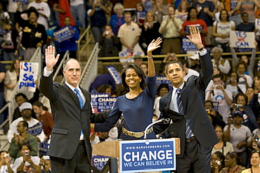 Barack Obama, his wife Michelle, and Bob Casey at the University of Pittsburgh the night before the PA primary.