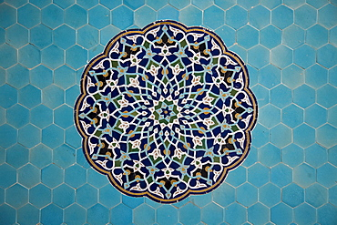 Yazd, Iran - February, 2008:Close up of the elaborately blue tiled 14th century Jameh (Friday) Mosque  in the old town in Yazd, Iran.