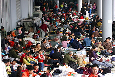 Earthquake refugees at a camp in the sports stadium in Mianyang, China. 5/14/2008