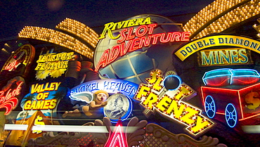 Lights along Las Vegas Boulevard, or the Strip, in Las Vegas, Nevada.