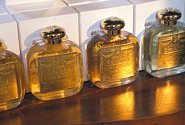 Product display at the Santa Maria Novella pharmacy in Florence, Italy. Established 600 years ago by Florentine monks, Santa Maria Novella is today a trendy purveyor of perfumes, soaps and elixirs.