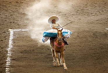 """An Amazona rides her horse at an Escaramuza competition in Mexico City, May 24, 2008. Escaramuzas are similar to US rodeos, where female competitors called """"Amazonas"""" wear long skirts, and ride side saddle. Male rodeo competitors are """"Charros,"""" from which comes the word """"Charreria."""" Charreria is Mexico's national sport."""