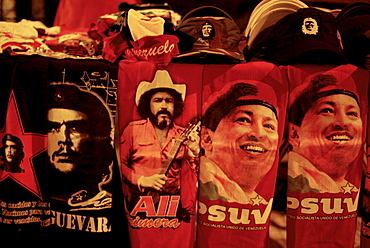 Political paraphernalia is sold at an election night rally of Chavistas, the term coined for supporters of leftist Venezuelan President Hugo Chavez on Sunday, Nov. 23, 2008 in Caracas. Venezuelans held pivotal elections that politically empowered the opposition movement against Chavez and his Socialist revolution. Elections were held across the country for 22 of the 23 state governorships, 328 mayors and 233 state legislators.