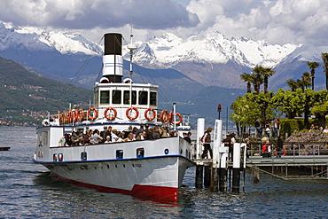 Boat docked at Bellagio on Lake Como, Italy.