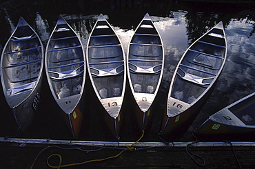 Boats ported in Jackson Lake, Wyoming.