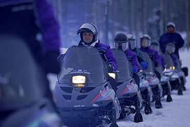 A snowmobile tour in Yellowstone.
