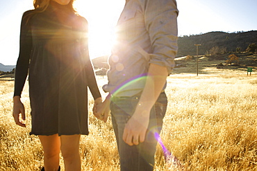 Couple hold hands in an open field. (backlit)