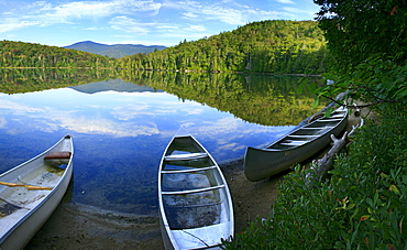 Swamped canoes on Heart Lake, Adirondack Park, NY, USA