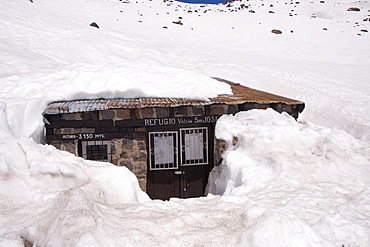 A climbers refuge called Refugio San Jose on Volcan San Jose in the Andes mountains of Chile