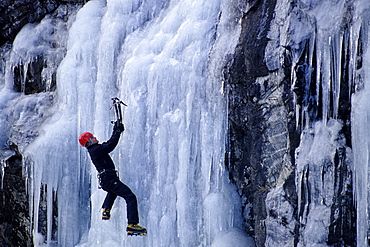 Matt Gentling boulders around at the ice at Winding Stair Gap in Hwy 64 Near Franklin, NC