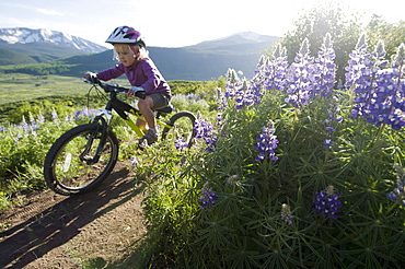 A young girl mountain biking past wildflowers on the Lupine Loop Trail in Crested Butte, Colorado.