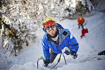Portrait of an icae climber in action in Whistler, British Columbia, Canada, Whistler, British Columbia, Canada