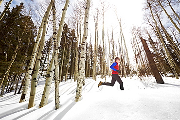 Adult male trail running through a snow covered trail high in the mountains above Telluride Colorado on a beautiful spring afternoon, Telluride, Co, USA