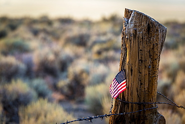 US Flag stuck in old log fence post with barb wire on lower Summer Meadows Road, CA, Bridgeport, California, USA