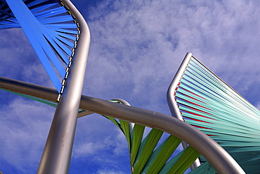 Low angle view of a metal sculpture in front of a building, the Forum, Barcelona, Spain