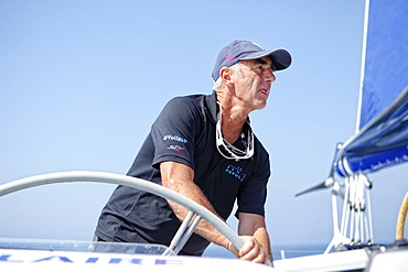 "Loick Peyron onboard the Maxi Trimaran Solo Banque Populaire VII in preparation for ""La Route du Rhum""."
