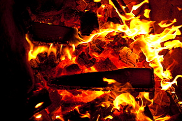 Close up of a campfire in Moab, Utah