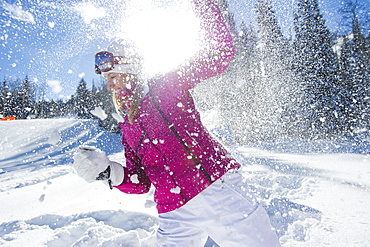 Sophy MIles Having a Snowball Fight WIth Friends in Park City Utah